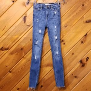 High Rise Super Skinny Distressed Jeans Hollister